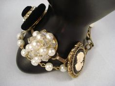 Cameo Earring Bracelet Wedding  Repurposed by SherisUniqueBoutique