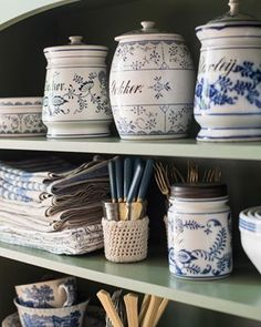 """Some have been surprised at my choice of green for an accent color in my home, but I think it's a natural pairing. Literally! The green is the """"land"""" to all of my blue & white """"sky""""... #mmshome #kitchendecor #kitchenmakeover #blueandwhite #antiques #blueonion"""