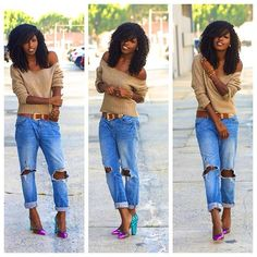 Off the shoulder sweater with bf jeans ❤️