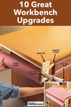 10 Great Workbench Upgrades Building A Workbench, Workbench Top, Workbench Plans, Rosin Paper, Miter Saw Table, Hanger Bolts, Wood Brackets, Shop Layout, Laminate Flooring