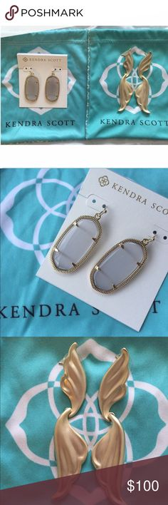 Kendra Scott Elle Slate Earrings Kendra Scott Elle earrings . NWOT and with dustbag. Size 1.44 L x 0.69 W Material: 14K gold over brass and slate cat's eye  No trades❗️ Price Firm❗️  This is my lowest!:) Kendra Scott Jewelry Earrings