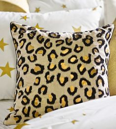 Gold leopard print pillow
