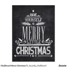 Chalkboard Merry Christmas Tree Typography Postcard Oct 27 2016 @zazzle #junkydotcom