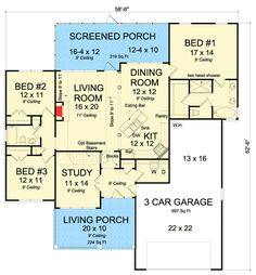 Two Porches - 52221WM | Ranch, 1st Floor Master Suite, CAD Available, Den-Office-Library-Study, PDF, Split Bedrooms | Architectural Designs