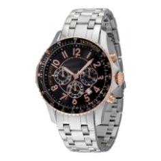 Morellato Gents Watch Analogue Quartz, Steel and Pink Steel, Black Bezel, Steel Bracelet