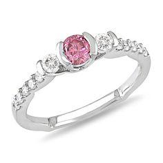1/2 CT. Pink and White Diamond Three Stone Engagement Ring