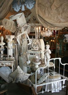 Mary's Meanderings: The Three L's of Delightful Booth Display layers, fabric, twigs, stacking