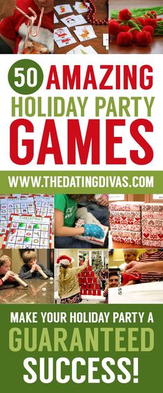 50 Amazing Holiday Party Games : The Dating Divas Xmas Games, Holiday Party Games, Xmas Party, Holiday Fun, Christmas Party Games For Groups, Christmas Party Activities, Christmas Activities For Families, Dating Divas, Family Christmas