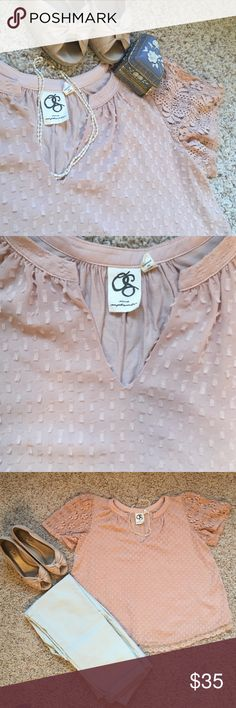"""Anthropologie Blush Pink Top Reposh because it was too big for me. 😞 from One September by Anthropologie. This top is in excellent condition! It is about 22"""" long and is shorter in the back. Lace sleeves and a detailed front give it a lovely feminine look please, ask sizing questions if you are unsure about fit. Anthropologie brands are a little different in their sizes, I've been told. Color is closest to third picture ☺️🎉 Anthropologie Tops Blouses"""