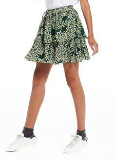 Nederdel grøn print 137064 Maison Scotch Silky Tiered Skirt - combo T