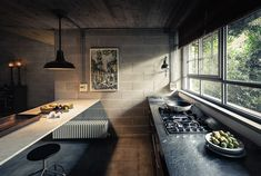 Deep Concrete Shadows on Behance Rustic Kitchen, Kitchen Dining, Kitchen Decor, Concrete Blocks, Rustic Design, Interior Design Kitchen, Interior Architecture, Designer, Building A House