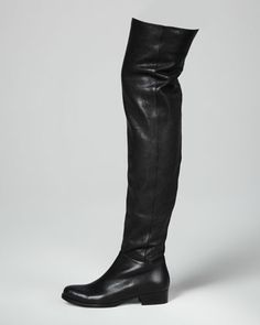 Georgina Stretch Leather Over-the-Knee Boot, Black by Jimmy Choo at Neiman Marcus. - YES Please! I love that this over the knee boot has a flat heel! Leather Over The Knee Boots, Block Heels, Leggings, Herve Leger Dress, Shoes, Black Boots, Fashion, Jimmy Choo, Skinny Jeans