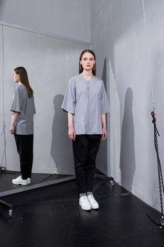 MEI KAWA | Hidden Button Line Grey Shirt Angkor, Grey Shirt, Line, Ss, Normcore, Buttons, Shirts, Collection, Style