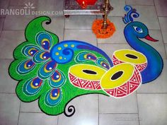 Peacock rangoli designs are popular due to it's colors, vibrant feathers and beautiful shapes. Latest Peacock rangoli designs for all festivals. Rangoli Designs Peacock, Easy Rangoli Designs Diwali, Best Rangoli Design, Rangoli Simple, Indian Rangoli Designs, Rangoli Designs Latest, Latest Rangoli, Rangoli Ideas, Rangoli Designs Images