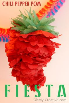 Make a Chili Pepper Party Pom decoration for Cinco De May or a Mexican Fiesta - Oh My! Creative