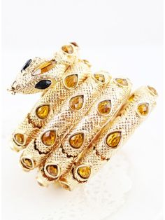 Vivid Gold Snake Reelable Gem Bracelet