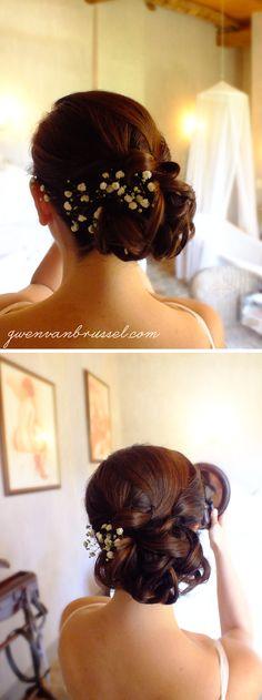 Chignon de mariée bas bouclé #gypsophile - Réalisé par Gwen Vanbrussel coiffeuse mariage