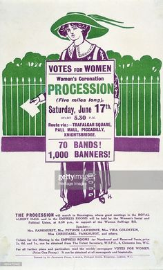 Ernest carried a banner for the Men's League for Women's Suffrage in the Women's Coronation Procession, 1911 Women Suffragette, Suffragette Colours, Emmeline Pankhurst, Women Right To Vote, Suffrage Movement, Protest Posters, Creative Textiles, Political Events, Women In History