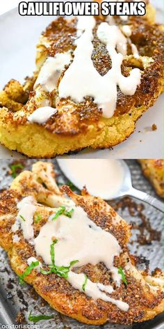 Easy Cauliflower Steaks, These Cauliflower Steaks are a creative and delicious side that can go with any meal. You'll love their crisp texture and how each one is packed with . Low Carb Recipes, Cooking Recipes, Healthy Recipes, Soup Recipes, Vegetable Recipes, Vegetarian Recipes, Vegetarian Steak, Kohl Steaks, Quick Easy Vegan