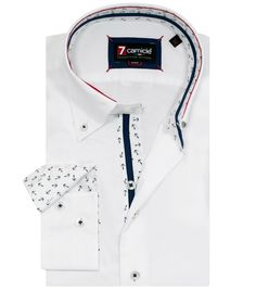 Shirt Men Long sleeve shirt 2 Button slim oxfordfull color White