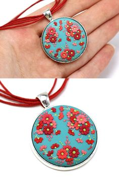Floral Pendant Necklace Turquoise Red Necklace with Flowers Polymer Clay Applique Floral Embroidery Round Pendant Feminine Floral Jewelry Cute Polymer Clay, Polymer Clay Dolls, Polymer Clay Necklace, Polymer Clay Pendant, Polymer Clay Projects, Polymer Clay Charms, Clay Earrings, Clay Crafts, Polymer Clay Embroidery