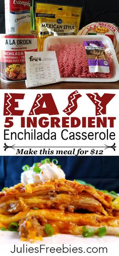Easy Crockpot Enchilada Casserole - Make this 5 ingredient meal for just $11.50