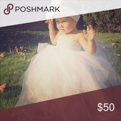 Full Length Tutu Dress Baby/toddler full length tutu dress in white(but I have other colors also)! Used for flower girl dress but also great for a princess dress up dress, birthdays, photos, etc.! Also available in short tutu and other colors, just ask me! Dresses