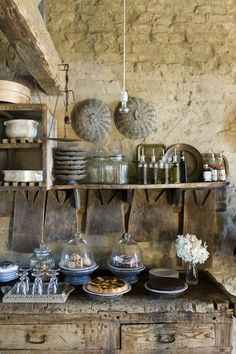 French Country Home. Unfinished woods, dull metal, cloches, and more.