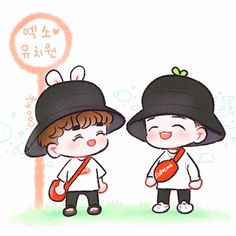 Suho n Baekhyun Baekhyun Fanart, Kpop Fanart, Kyungsoo, Exo Cartoon, Cartoon Drawings, Exo Anime, 5 Years With Exo, Bunny And Bear, Exo Fan Art