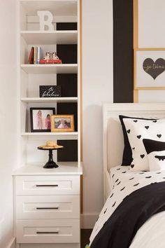 Jillian Harris black/white bedroom with polka dot bedding