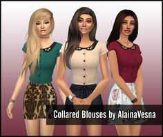 Collared Blouses at Alaina Vesna via Sims 4 Updates Js Sims, Sims 4 Clothing, Female Clothing, Sims4 Clothes, Sims 4 Cc Skin, Sims 4 Game, Sims 4 Update, Sims 4 Custom Content, Collar Blouse