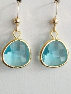 Blue Earrings, Aquamarine earrings, Glass earrings, Gold Framed Aquamarine Glass gold filled Earrings, Peridot jewelry, Wedding, bridesmaids on Etsy, $22.05 CAD