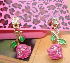 Betsey Johnson Earrings pink roses