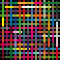 Criss Cross 3 by Simon C Page  (try this...  lay down background color.  put squares of tape/frisket down in regular grid.  then paint stripes...)