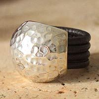 NOVICA - Peru - Rosa Tomatis 'Armor Shell' leather and silver hammered domed ring. <3