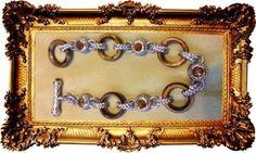 "Beautiful Judith Ripka Sterling Citrine Tiger's Eye Toggle Link Bracelet 8"" #JUDITHRIPKA #Toggle"