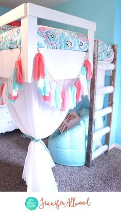Tween Girls Loft Bed with Curtains and Faux Fur Ladder by Jennifer Allwood   Coral and Blue Girls Bedroom   GIrls Bedroom Ideas   Girls Decor } Kids Rooms} Nap Queen   Tassel   Mint & Blush   White Bedroom Furniture   Pottery Barn Teen Deco Medallion Duvet Cover + Sham Warm Multi