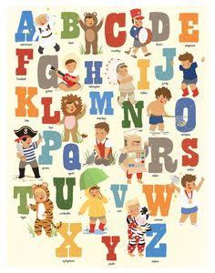 Alphabet Poster Children's Art Boys Alphabet Art by kindygarden, $30.00