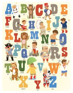 Alphabet Poster Children's Art Boys Alphabet Art by kindygarden, $30.00