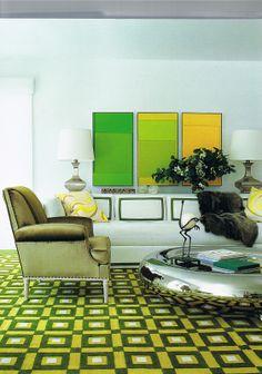 David Hicks geometric carpet.  #lifeinstyle #greenwithenvy