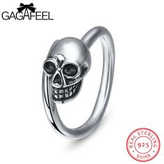 41ae7a08b783 GAGAFEEL Ring For Male Genuine Sterling Silver Open Rings With Skeleton  Skull 2MM Punk Unique Gift
