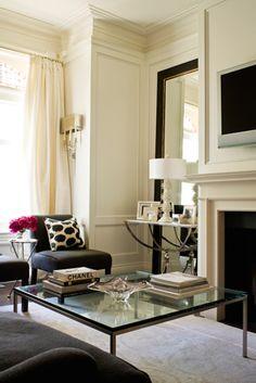 Living room: glass coffee table