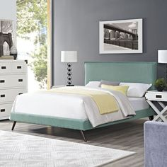 Shop for Modway Camille Laguna Wood and Fabric Round Splayed Legs Platform Bed. Get free shipping at Overstock.com - Your Online Furniture Outlet Store! Get 5% in rewards with Club O!