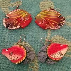 2 Pairs Fish Earrings Fun Earrings Jewelry Earrings