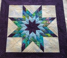 Lone Star from one of Bonnie Browning's Quilting Workshops. The complex background quilting emphasizes the star.