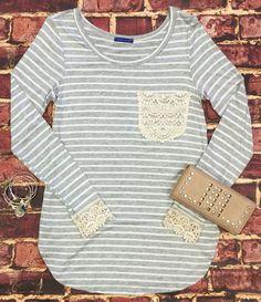 Striped Crochet Pocket Top