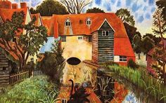 "A painting by Dora Carrington of the ""Mill House"", Tidmarsh, Pangbourne, on the upper Thames, where much of Queen Victoria was written by Lytton Strachey. Dora Carrington, Duncan Grant, Vanessa Bell, Bloomsbury Group, Multimedia, Art History, Canvas Prints, Architecture, House Styles"
