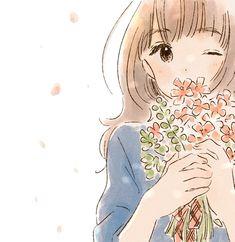 cute manga girl flower art by itunohika