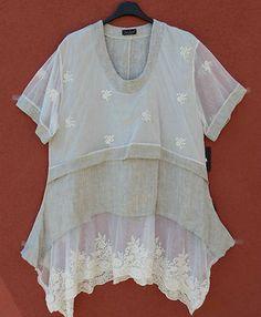 Sarah Santos TRAUM Tunika Kleid Leinen Spitze Dress Tunic Gr XXL 52 54 Lagenlook