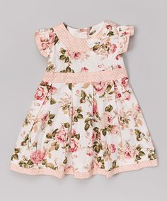 Look at this Pink Floral & Denim Polka Dot Floral Dress - Infant & Toddler on #zulily today!